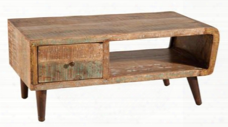 "Orbit 12970 48"" Cocktail Table With Open Shelf 1 Drawer And Weathered Hand-painted Finish In"