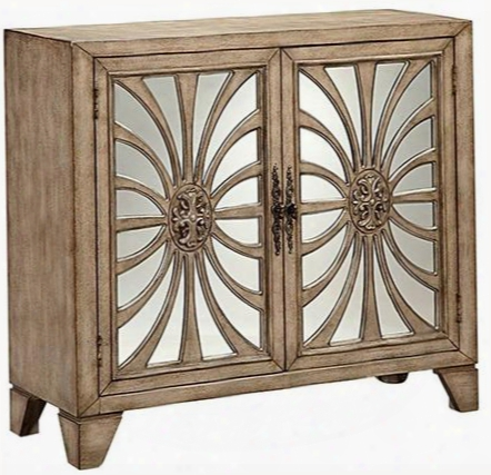 "Pope 13539 40"" 2-door Mirror Cabinet With Wire Management And Antique Mirrored Glass Door Panels With Linear Curved Fretwork In Ash Wood-tone"