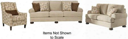 Quarry Hill 38701slac 3-piece Living Room Set With Sofa Loveseat And Accent Chair In Quartz