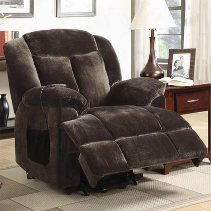 "Recliners 600173 37"" Power Lift Recliner With Remote Control Reclining Mechanism Pillow Top Arms And Velvet Upholstery In Chocolate"