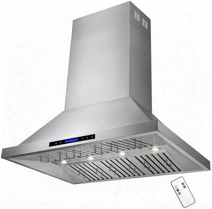 "Rh0162 48"" Dual Motor Iisland Range Hood With 820 Cfm 65 Dba 4 Halogen Lighting 6 Stainless Steel Baffle Filters And Touch Panel Controls In Stainless"