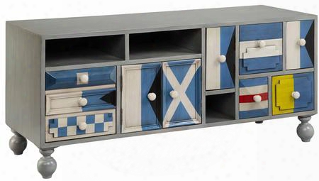 """Sailmaker 13146 53"""" 4-door 6-drawer Console With Open Storage Compartments Flag Semaphore Motif And Turned Legs In"""