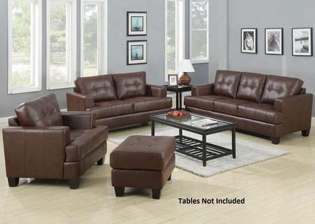Samuel 504071slco 4 Pc Living Room Set With Sofa + Loveseat + Chair + Ottoman In Dark Brown
