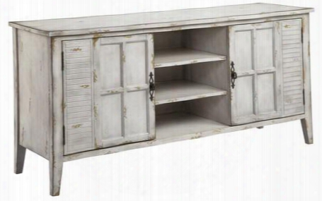 "Sigsbee 12837 61"" Media Cabinet With Louvered Windows Open Storage And Removable Shelves In A White"