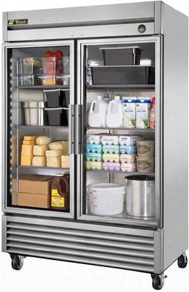 "T-49g-ld 55"" T-series Glass Door Reach-in Refrigerator With 43.5 Cu. Ft. Total Capacity  Double Pane Thermal Glass Doors 6 Adjustable Heavy Duty Wire Shelves"