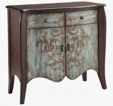 """Tansy 13175 38"""" 2-door 2-drawer Cabinet With Decorative Drawer Front Tapered Legs And Molding Details In"""