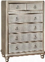 "Bling Game 204185 39"" Chest with 6 Drawers Stacked Bun Feet Felt Lined Top Drawer and Silver Ring Pulls in Metallic Platinum"