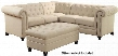 "Roy Collection 500222 95"" Sectional Sofa with Button-Tufted Back Pocket Coil Seating Decorative Nail Heads Sinuous Spring Base Solid Wood Legs and Fabric"