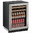 "U-1224BEVS-00B 24"" 1000 Series Built-In Beverage Center with 5.4 cu. ft. Capacity Passive Cooling System 2 Wine Racks 2 Glass Shelves Digital Touchpad"
