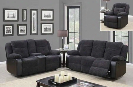 U1566jasminemouserscrlsgr 3 Piece Set Including Reclining Sofa Loveseat And Recliner In Jasmine Mouse Fabric And Black