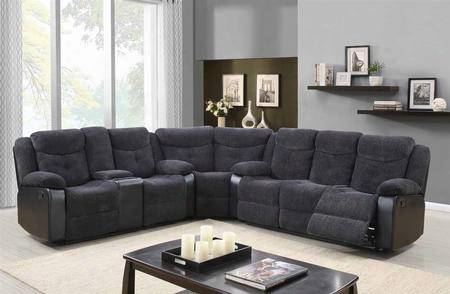 "U1566jasminemousesec 120"" Sectional Right With Plush Padded Arms Console Cup Holders In Jasmine Mouse With Black"