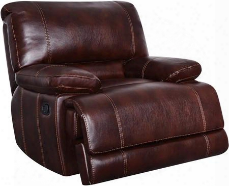 "U1953-agnes-coffe-gr 3"" Glider Recliner With Plush Padded Arms Split Baack Cushion Stitched Detailing In Agnes"