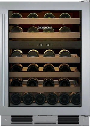 """Uw-24fs/s/th-rh 24"""" Star K Freestanding Wine Storage With 46 Wine Bottle Capacity 5 Wine Racks Two Independent Temperature Zones Uv-resistant Glass Door"""