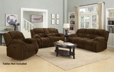 Weissman 601924slc 3 Pc Living Room Set With Reclining Sofa + Reclining Loveseat + Gliding Recliner In Brown