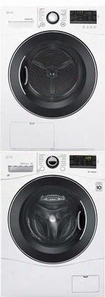 """White Laundry Pair With Wm1388hw 24"""" Washer Dlec888w 24"""" Electric Condensing Dryer And Kstk1 Stacking"""
