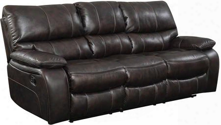 """Willemse 601931 88"""" Motion Sofa With Drop-down Table Scoop Seating Accent Stitching Cushioned Lumbar Support And Leatherette Upholstery In Chocolate"""