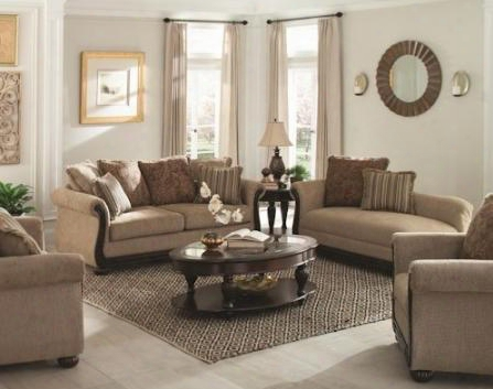 "Beasley Collection 505241 85"" Traditional Sofa Love Seat And Chaise In Brown Fabric"