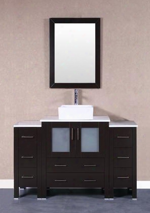 "Bosconi Ab130cbeps2s 54"" Single Vanity With Soft Closing Doors Drawers Phoenix Stone Top Faucet Mirror In Espresso And White Vessel Square Ceramic"