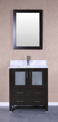 "Bosc Oni Ab130cmu 30"" Single Vanity With Soft Closing Doors Drawers Marble Top Faucet Mirror In Espresso And White Undermount Oval Ceramic"