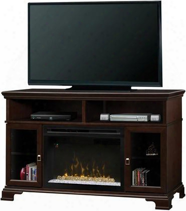 """Brookings Gds25hge1055 52.75"""" Transitional Media Console Complete With Pf2325hg 25"""" Firebox With Glass Ember Bed Multi-funcition Remote And Heat Boost In An"""