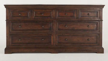"""Carmela Zwcr6421 64"""" Media Dresser With 8 Drawers X-inlay Design 100% Reclaimed Neem Wood And Antique-rubber Lacquer In Chestnut"""