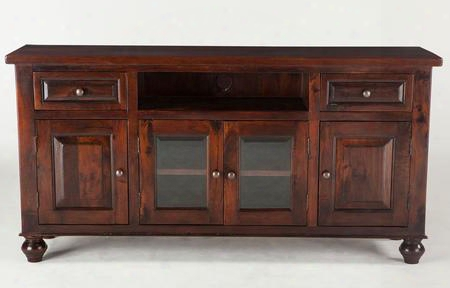 "Chatham Downs Zwcado7224 72"" Plasma Cabinet With 2 Drawers 4 Doors Distressed Marks Hand-turned Legs And Solid Mango Wood Construction In Brown"