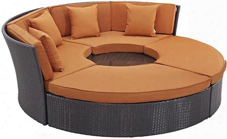 "Convene Collection Eei-2171-exp-ora-set 86"" Circular Outdoor Patio Daybed With Ottomans Pillows Included Fabric Cushion Pwoder Coated Aluminum Tube Frame"