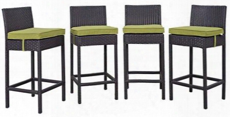 Convene Collection Eei-2218-exp-per-set 4 Pc Outdoor Patio Pub Set With Synthetic Rattan Weave Construction And All-weather Fabric Cushions In Espresso Peridot