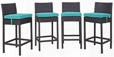 Convene Collection Eei-2218-exp-trq-set 4 Pc Outdoor Patio Pub Set With Synthetic Rattan Weave Construction And All-weather Fabric Cushions In Espresso