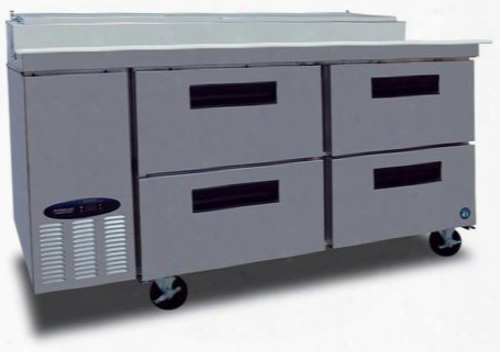 """Cpt67-d4 67"""" Commercial Series Pizza Prep Table With 4 Drawers 19.9 Cu. Ft. Capacity Stainless Steel Exterior 14 Gauge Stainless Steel Drawer Slides"""