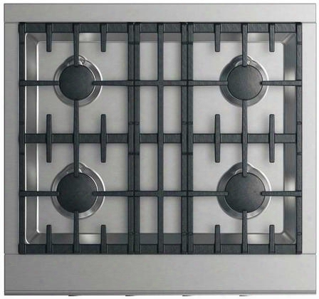 """Cpv2-304-l 30"""" Rpofessional Cooktop With 4 Sealed Dual Flow Burners Continuous Surface Grates Halo-illuminated Dials And Easy To Clean: Stainless"""