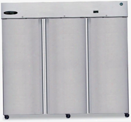 "Cr3s-fs 83"" Commercial Series Reach-in Refrigerator With 73.3 Cu. Ft. Capacity 3 Sections 115 Volts 8 Gauge Stainless Steel Hinge Plate And 9 Adjustable"
