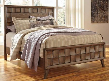 Debeaux B535-54/57/96 Queen Size Panel Bed With Alternating Blocks Design Canted Styled Legs And Made With Oak Veneers And Select Hardwood Solids In Medium