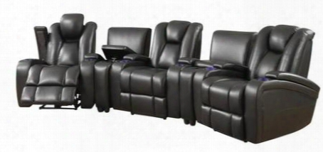 Delange Collection 601743pset 5 Pc Living Room Set With 3 Power Recliners + 2 Consoles In Black