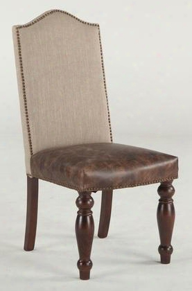 """Emilia Zwei63tldl 20"""" Dining Chair With Nail Head Trim Tan Linen Upholsteredback And Distressed Brown Leather Seat Upholstery In Brown"""