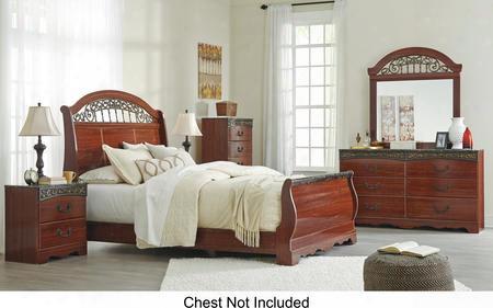 Fairbrooks Estate  Queen Bedroom Set With Sleigh Bed Dresser Mirror And Nightstand In Reddish