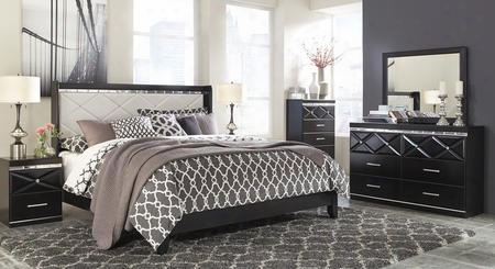 Fancee King Bedroom Set With Panel Bed Dresser Mirror Chest And 2 Nightstands In