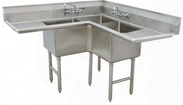 "Fc-k6-18d-x Three-compartment Fabricated Corer Sink With 18"" Right And Left Drainboard 18"" X 18"" Bolw And Backsplash In Stainless"