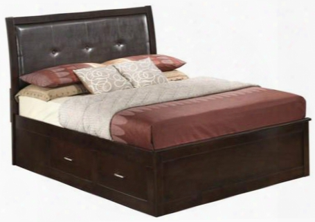 G1225bqsb Queen Size Storage Bed With Distressed Detailing Dovetailed Drawer And Tufted Detailing In