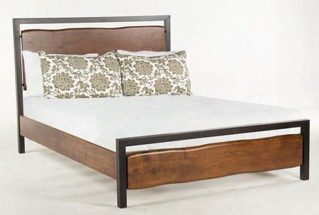 Glenwood Wge16 King Size Panel Bed With Faux Live-edge Wood And Metal Construction In Walnut