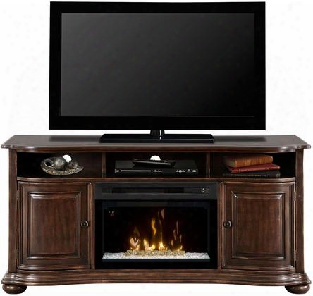 "Henderson Gds25gd1414hc 66"" Traditional Media Console Complete With Pf2325hg 25"" Glass Ember Bed Firebox Multi-function Remote Heat Boost In Deep Cherry"