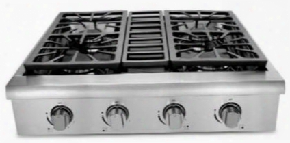 "Hrt3003u 30"" Professional Gas Range Top By The Side Of 4 Sealed Burners Black Porcelain Drip Pan And 3 Heavy Duty Continuous Cast Iron Grates In Stainless"