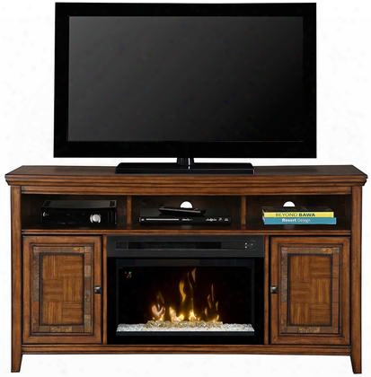 "Lynbrook Gds25gd1410lb 60"" Traditional Media Console Complete With Pf2325hg 25"" Glass Ember Bed Firebox Multi-function Remote And Heat Boost In A Brown"