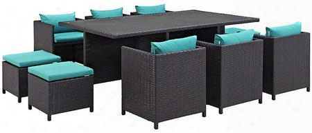 Reversal Collection Eei-644-exp-trq-set 11-piece Outdoor Patio Dining Set With 4 Stools 6 Chairs And Rectangular Glass Top Table In Espresso And
