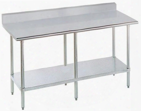 """Sflag-368-x 36"""" Wide Work Table With Stainless Steel Flat Top And Understructure And 1 1/2"""" Backsplash 96"""" X"""