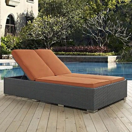 "Sojourn Collection Eei-1983-chc-tus 78"" Outdoor Patio Sunbrella Double Chaise With Adjustable Recline/incline Synthetic Rattan Weave Uv And Water Resistant"