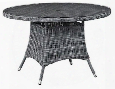 "Summon Collection Eei-1940-gry 59"" Round Outdoor Patio Dining Table With Tempered Glass Top Umbrella Hole Aluminum Tube Frame Water And Uv Resistant In"
