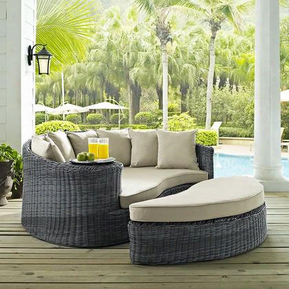 "Sumkon Collection Eei-1993-gry-bei 71"" Outdoor Patio Sunbrella Daybed With Adjustable Foot Glide Ottoman Two-tone Synthetic Rattan Weave Uv And Water"