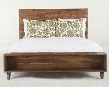 Artezia WAT16 King Size Panel Bed with Casters Front Open Storage Compartment and Distressed Wood Construction in Weathered Natural