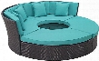 "Convene Collection EEI-2171-EXP-TRQ-SET 86"" Circular Outdoor Patio Daybed with Ottomans Pillows Included Fabric Cushion Powder Coated Aluminum Tube Frame"